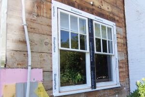 PVC trim provides the depth needed to accommodate an inch of insulation board.
