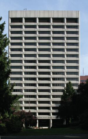 The original, SOM-designed  Edith Green–Wendell Wyatt Federal Building prior to interventions by James Cutler, FAIA, and SERA Architects.