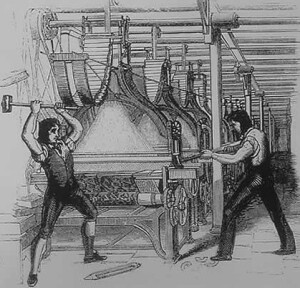 Luddites, also called frame-breakers, smash a loom in protest of the encroachment of new technologies on traditional craft.