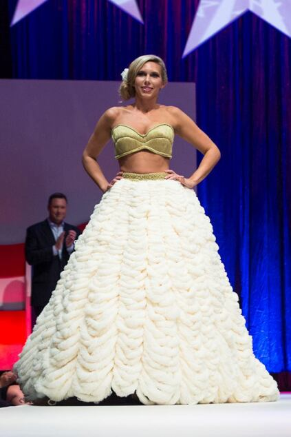 Heidi Wurstle wears WDG's skirt and top inspired by James Madison, which won the Audience Favorite Award.