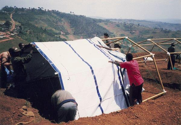 Paper Emergency Shelter for the United Nations High Commissioner for Refugees, Yumba refugee camp, Rwanda, 1999.