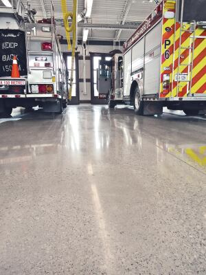 Minimizing tire markings on the floor of of the fire hall was a priority to the city.