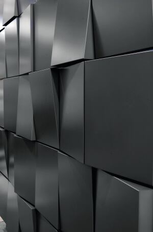 The Tapered Series architectural metal wall panel system from Dri-Design allows each panel face to be angled from top to bottom, bottom to top, left to right, or right to left. Random and regimented patterns such as waves, bonds, running bonds, and shingles can be created. The rainscreen system is suited for accent areas or entire fa§ades. Materials available include painted aluminum, zinc, copper, and stainless steel. ¢ dri-design.com
