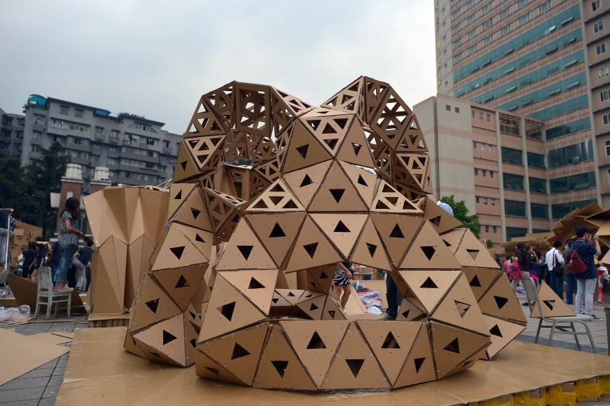A paper house built by Chinese students is displayed at the campus of Chongqing University in Chongqing, China. More than 350 students from 19 teams built paper houses at Chongqing University. The university's architecture and urban planning department and five high schools in Chongqing jointly held the activity to inspire students' creativity.