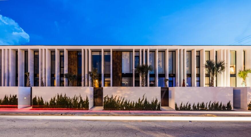 rental townhouses, front elevation, elegant facade