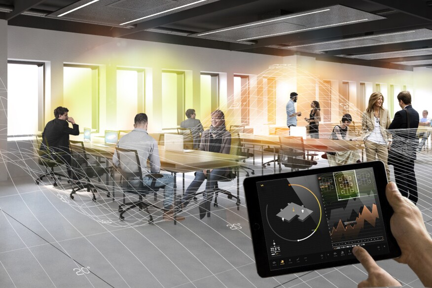 A rendering of a smart office, in Italy, designed by Carlo Ratti Associati.