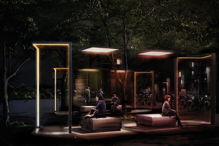 Narboni designed Extimity with French lighting company Technilum. It is a modular system that addresses urban design trends and incorporates street furniture elements with smart lighting functionality to foster the creation of a nocturnal urban environment.