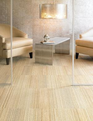 The Wool collection from Shaw combines fine wool fiber with metallic, high-luster accents. Its Eco Solution Q recyclable nylon fibers are made of 25% recycled content, and Shaw will collect and recycle any EcoWorx product at no charge to the customer. The line comes in a choice of three tile or three broadloom styles, and 12 colors—except for the Dissolve product, which has a choice of 24 colors.  shawcontractgroup.com