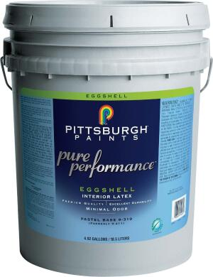 Pure Performance paints  Pittsburgh Paints  pittsburghpaints.com  Line of zero-VOC paints    Emits very low odor    Available in flat, eggshell, semi-gloss, and primer    Tints to all 1,890 colors in the company's Voice of Color system    Certified as a top-quality paint by the Master Painters Institute    Received Green Seal Class A certification