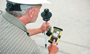 The LM80 Layout Manager by Trimble is used to transfer real-time landscape data from the jobsite to the office.
