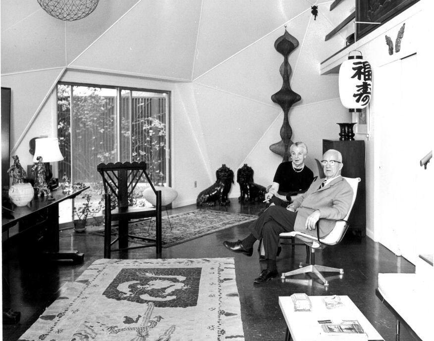 Anne and Buckminster Fuller in the living room.