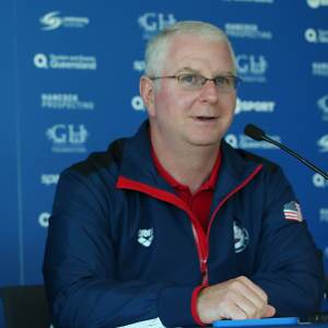 speaks to the media during the Team USA squad press conference at the Gold Coast Aquatics Centre on August 20, 2014 in Gold Coast, Australia.