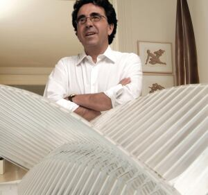 Calatrava stands behind his model for the new World Trade Center Transportation Hub.