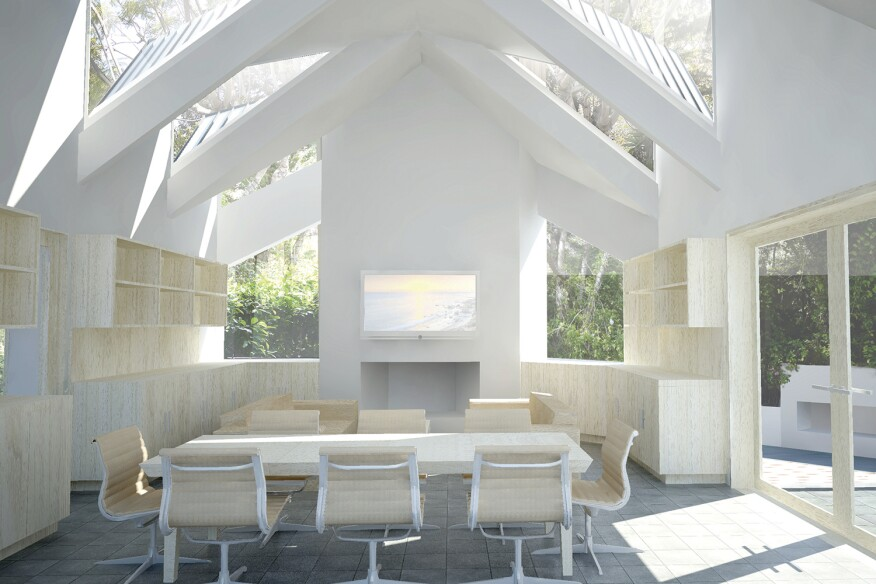 North-facing roof monitors in the Case Room, a residential addition in Malibu, Calif., create dynamic lighting through the course of the day.