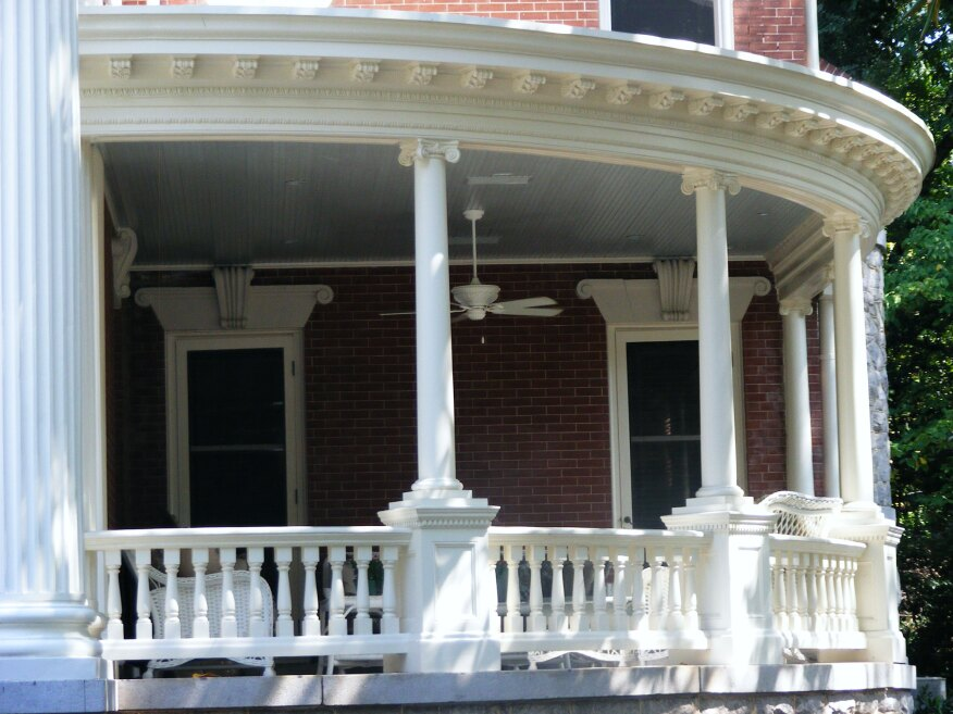 Engineer Clint Shaeffer at Quinn and Associates detailed the sizes and spacing of repairs to the structural wooden columns. The new staves were made and hand-sanded into place to preserve the design of the tapered columns.