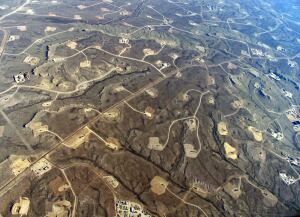Natural-gas wells on public land in Wyoming.