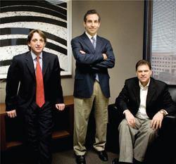 (L to R) Robert Landin and Jeffrey Goldberg with Steve Lamberti, COO of Milestone Apartments REIT.