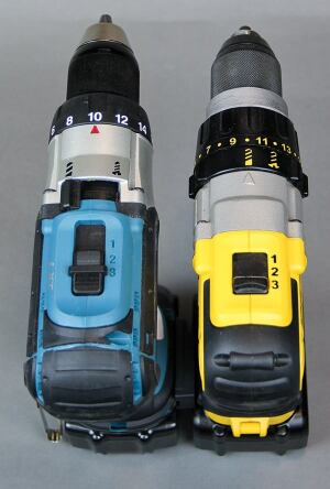 The heavy-duty tools from Makita and DeWalt have three-speed transmissions and mode switches that allow the user to go between drill and drive without changing clutch settings. None of the other drills have more than two speeds, though the Festool and the heavy-duty Milwaukee do have mode switches.