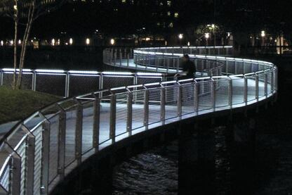 The LED Handrail System at the Per C waterfront park in Hoboken, N.J.