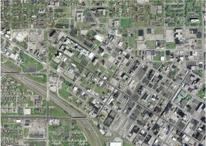 Traditional orthoimagery of downtown Toledo, Ohio.