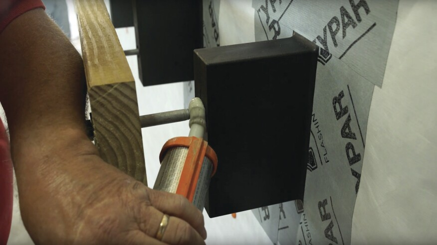 BR Brick Brackets are connected to the rim joist with 1⁄2-inch-diameter through-bolts. The bolt hole is filled with sealant prior to installing the bolt to prevent water intrusion.