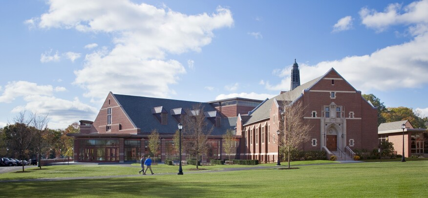 Thayer's Center for the Arts (left) and Frothingham Hall