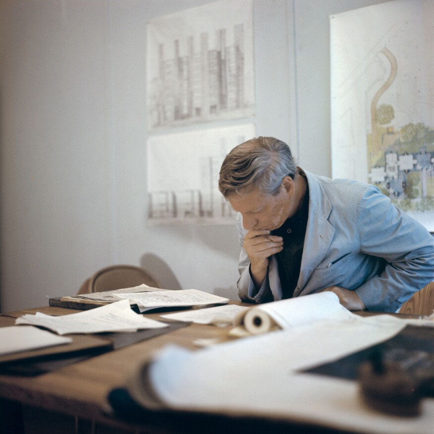 Louis Kahn in his office c. 1960