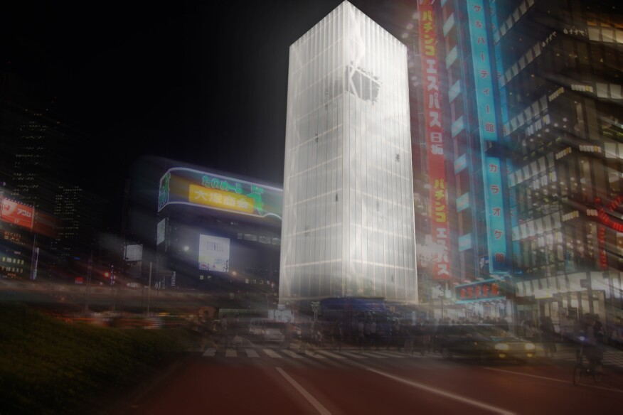 For Tomecek Studio Architecture's submission to the 2016 Tokyo Vertical Cemetery competition, the firm drew inspiration from Buddhist rituals in conceptualizing a wood tower with a translucent panel skin, which features a remembrance garden, urn walls, and gathering spaces for mourners on its top floor.