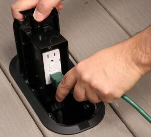 Deck Grommet Pro Floor Box Keeps Exterior Outlets Out Of The Way Jlc Online Electrical
