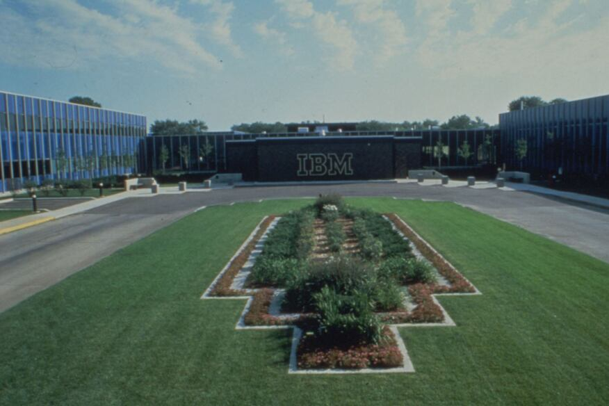 IBM facility in Rochester Minnesota. IBM logo and graphic identity designed by Paul Rand.