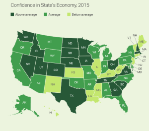 Gallup's heat-map of state-by-state economic confidence for 2015