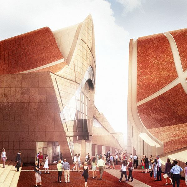 A rendering of the music center.
