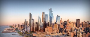 Hudson Yards viewed from the Hudson River.