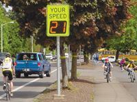 Scheduled to turn on automatically during school hours, a radar display takes the guesswork out of speed limits.