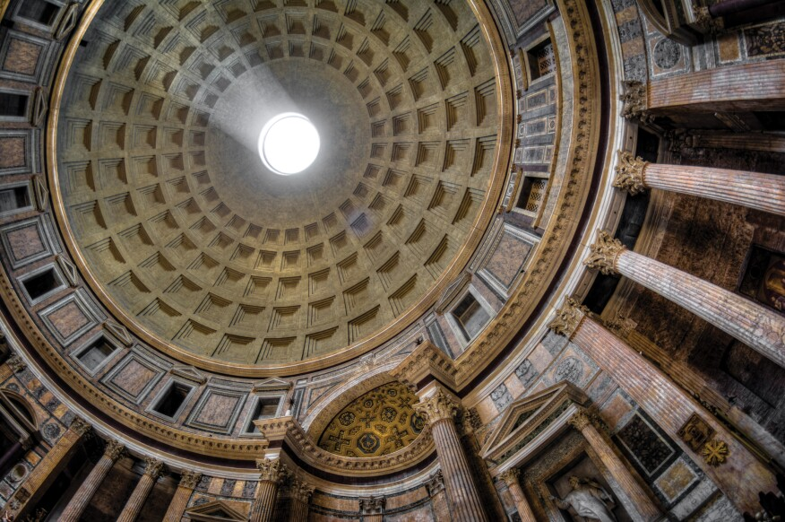 The oculus in the Pantheon dome in Rome.