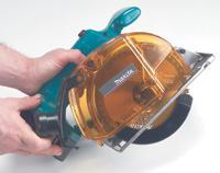 Makita's chip collector contains most of the cutting   debris and is easy to empty.
