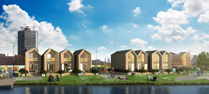 An artist rendering of a community of ONE homes in Amsterdam.
