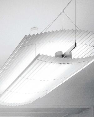 Flyer Solo ceiling fixtureInter-luxwww.inter-lux.com  Glare-free, uniform direct and indirect lighting - Sail made of permanently pleated, antistatic, soilproof white microfiber material - Height-adjustable - Compact fluorescent lamps