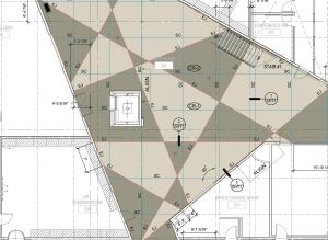 Trademark overlays joint layouts on CAD drawings provided by designers for all their projects. The blue lines represent sawed control joints and the red lines are expansion, or isolation, joints.