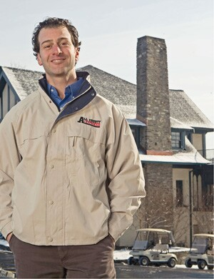 Ross Marzarella of All County Exteriors, in Lakewood, N.J., finds that while consumers may postpone a roofing job, commercial customers like this country club typically budget for re-roofing, but need a certain size company to do the work.