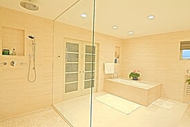 Wiedemann Architects Seamless Addition for Master Bath Featuring LUXE Linear Drains