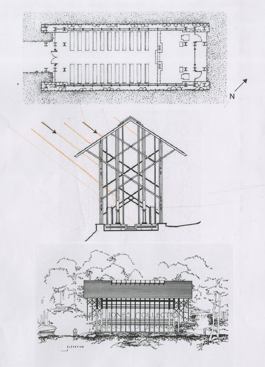 Thorncrown Chapel plan and elevation