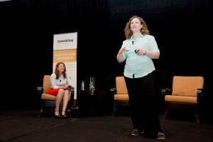 Jamie Briesemeister (l) and Lauren Hunter discuss home technology integration at the Remodeling Leadership Conference.