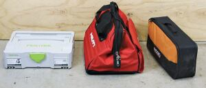 From left: Festool uses a modular Systainer case that can be connected to other Systainers. Hilti's gate-mouth bag is a favorite because it can accommodate a drill index and a bunch of other tools. Though very compact, Ridgid's soft case has no straps or dividers to prevent the contents from bouncing around inside.