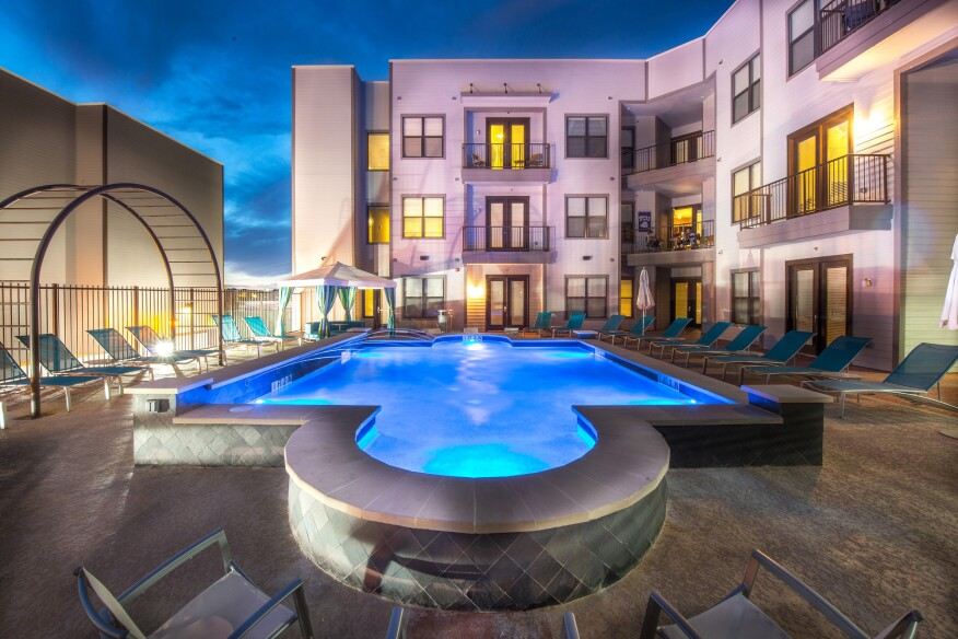 The Loftvue student housing apartments in Fort Worth, Texas, provide great space for Texas Christian University students to socialize.