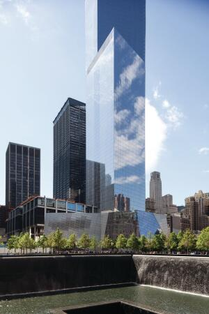 4 WTC as seen from across one of the two memorial fountains