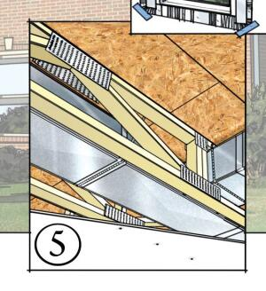 Layout and install all HVAC ductwork to run inside conditioned space to reduce heat loss and improve efficiency.