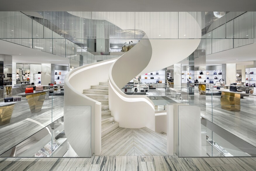 A view of the spiral stair looking toward the Accessories Department