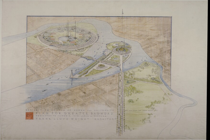 Plan for Greater Baghdad. Unbuilt project. 1957-58. 34 7/8 × 52″ (88.6 × 132.1 cm). The Frank Lloyd Wright Foundation Archives