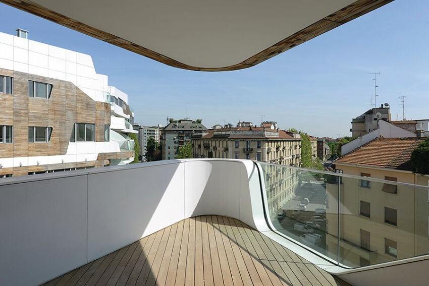 Balcony of a Zaha Hadid-designed unit.